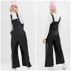 ASOS Collision Faux Leather Wide Leg Overalls